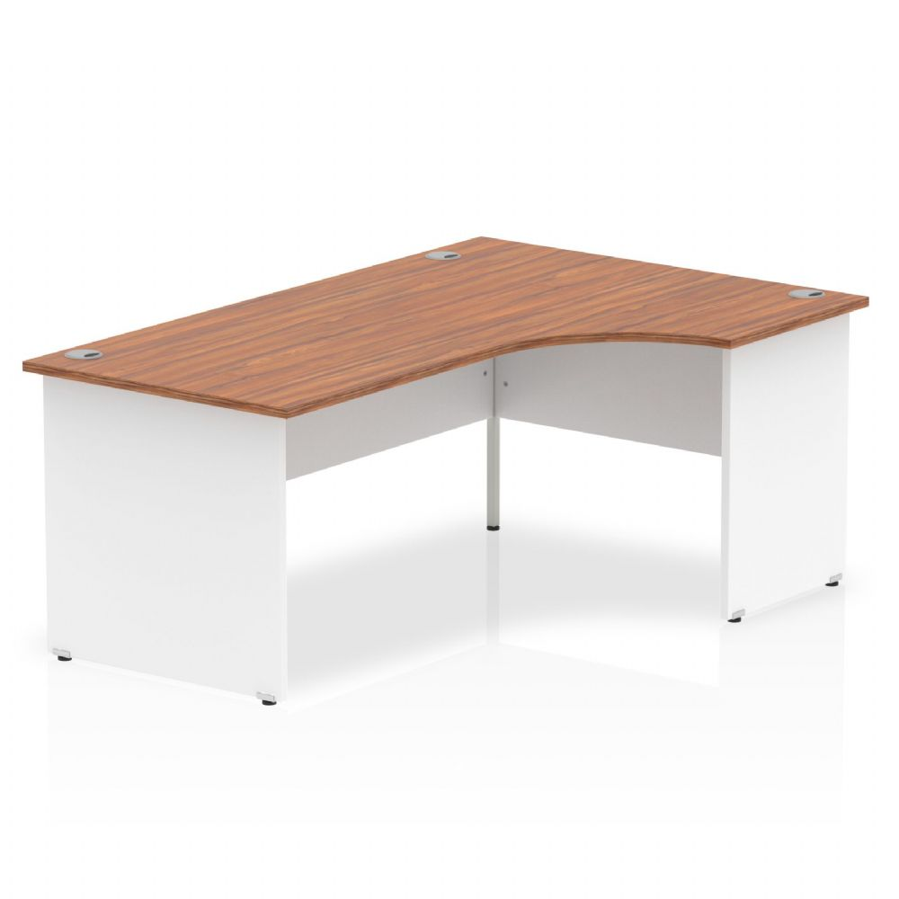1800mm|Right Hand Crescent Desk|White Panel End|Beech, Maple, Oak & Light Walnut Finish